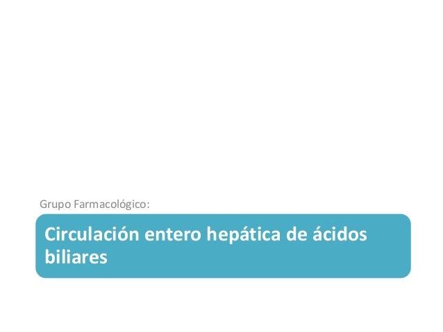 Circulación entero hepática de ácidos biliares Grupo Farmacológico: