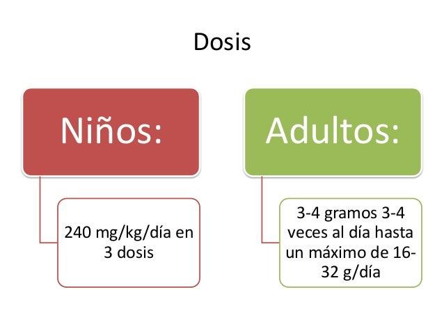 Dosis Niños: 240 mg/kg/día en 3 dosis Adultos: 3-4 gramos 3-4 veces al día hasta un máximo de 16- 32 g/día
