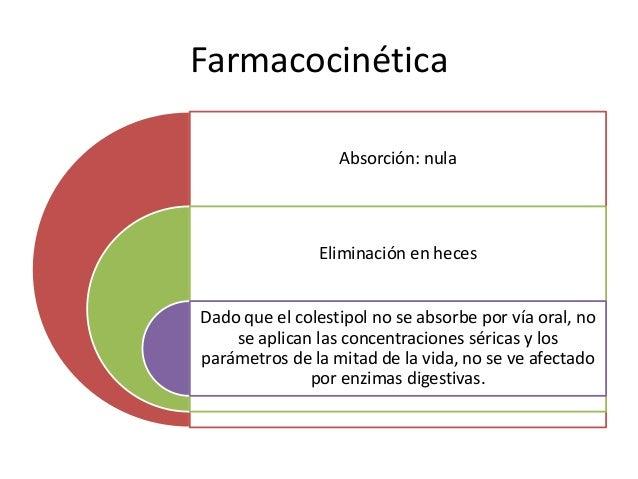 Farmacocinética Absorción: nula Eliminación en heces Dado que el colestipol no se absorbe por vía oral, no se aplican las ...