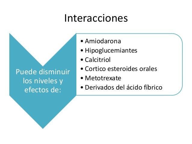 Interacciones Puede disminuir los niveles y efectos de: • Amiodarona • Hipoglucemiantes • Calcitriol • Cortico esteroides ...