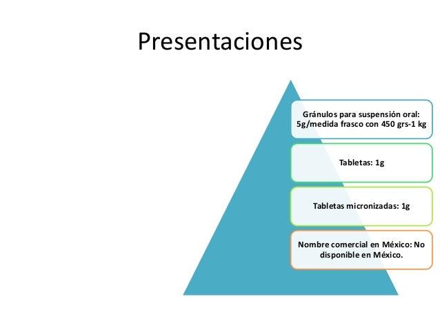 Presentaciones Gránulos para suspensión oral: 5g/medida frasco con 450 grs-1 kg Tabletas: 1g Tabletas micronizadas: 1g Nom...