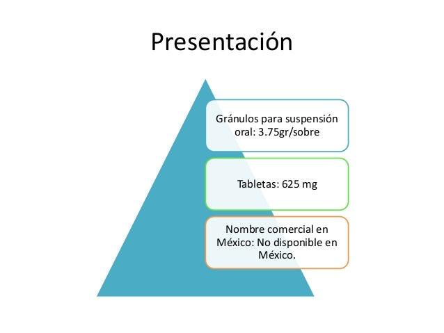 Presentación Gránulos para suspensión oral: 3.75gr/sobre Tabletas: 625 mg Nombre comercial en México: No disponible en Méx...