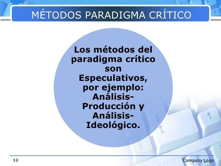 MÉTODOS PARADIGMA CRÍTICO<br />12<br />