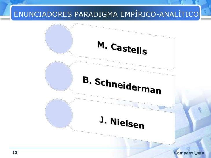 ENUNCIADORES PARADIGMA EMPÍRICO-ANALÍTICO<br />13<br />