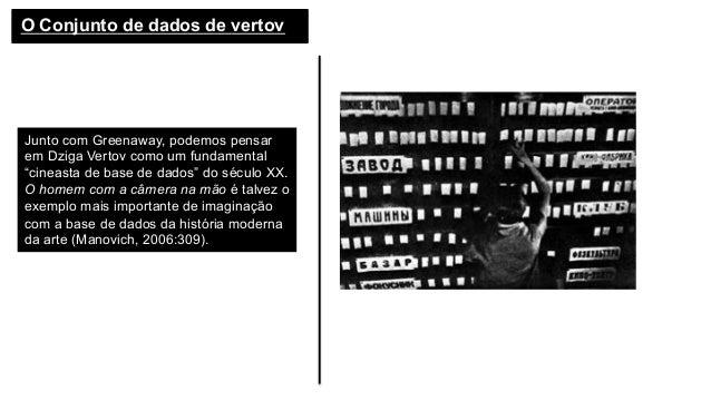 """O Conjunto de dados de vertov Junto com Greenaway, podemos pensar em Dziga Vertov como um fundamental """"cineasta de base de..."""
