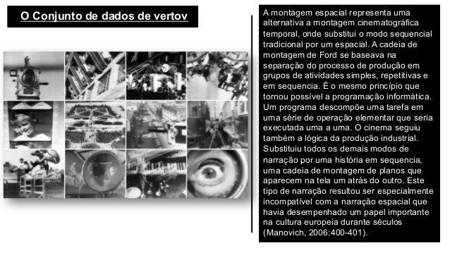 O Conjunto de dados de vertov  A montagem espacial representa uma alternativa a montagem cinematográfica temporal, onde ...