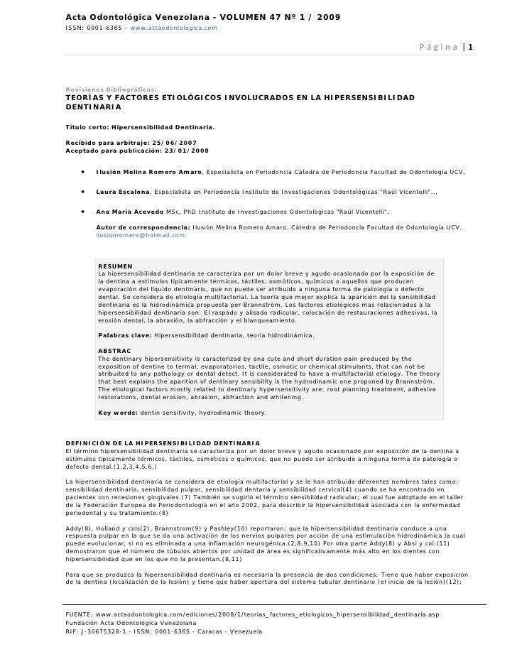 Acta Odontológica Venezolana - VOLUMEN 47 Nº 1 / 2009ISSN: 0001-6365 – www.actaodontologica.com                           ...
