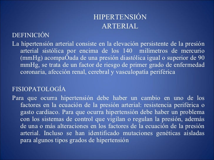 Etiologia de la hipertension arterial pdf