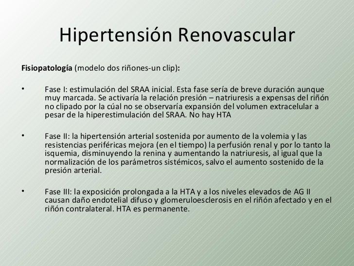 Hipertensión RenovascularFisiopatología (modelo dos riñones-un clip):•     Fase I: estimulación del SRAA inicial. Esta fas...