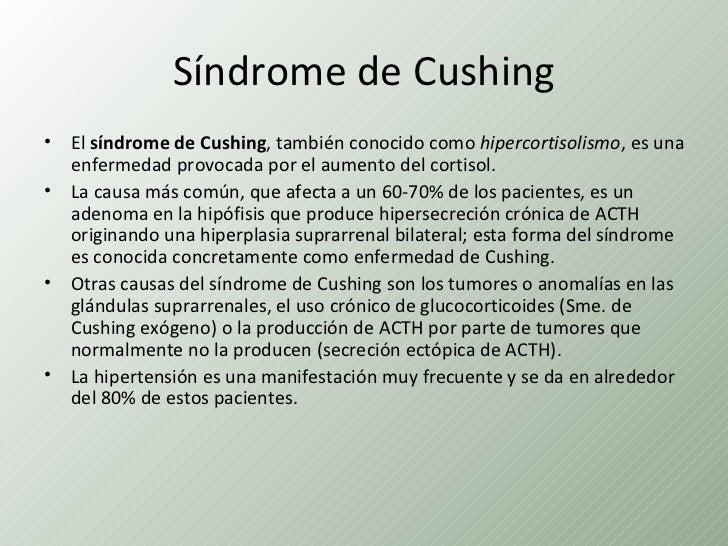 Síndrome de Cushing• El síndrome de Cushing, también conocido como hipercortisolismo, es una  enfermedad provocada por el ...