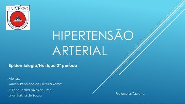 HIPERTENSÃO  ARTERIAL  Epidemiologia/Nutrição 2° período  Alunas:  Annely Penélope de Oliveira Ramos  Juliane Thalita Alve...