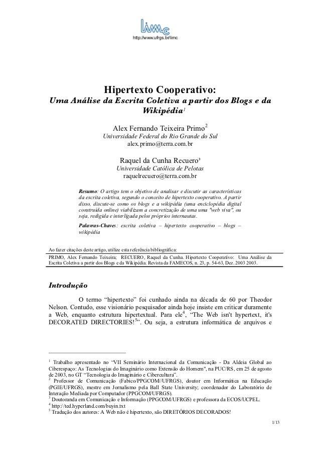 http://www.ufrgs.br/limc                              Hipertexto Cooperativo:Uma Análise da Escrita Coletiva a partir dos ...