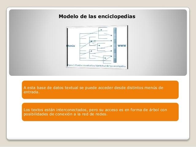 Modelo de las enciclopedias A esta base de datos textual se puede acceder desde distintos menús de entrada. Los textos est...