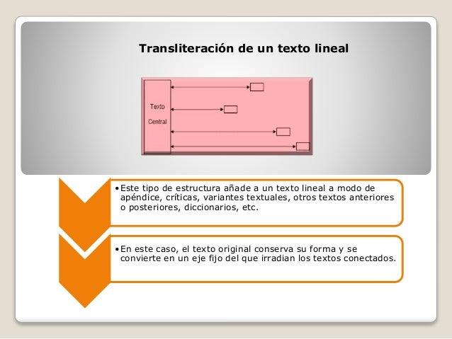 Transliteración de un texto lineal •Este tipo de estructura añade a un texto lineal a modo de apéndice, críticas, variante...