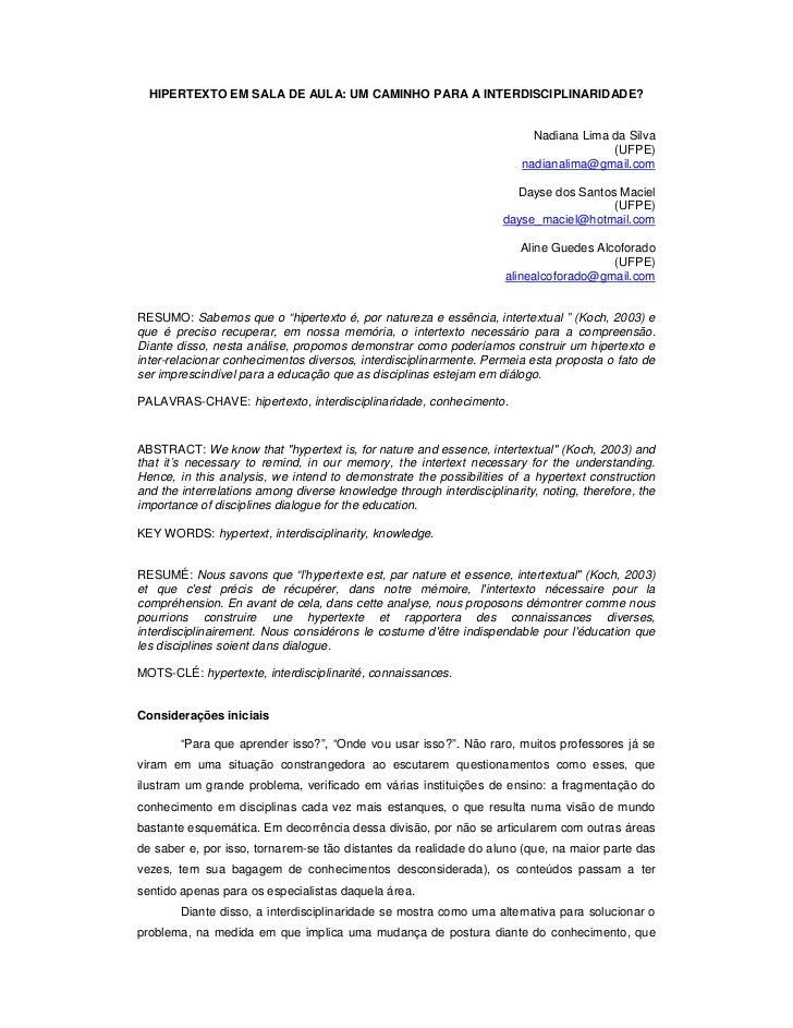 HIPERTEXTO EM SALA DE AULA: UM CAMINHO PARA A INTERDISCIPLINARIDADE?                                                      ...