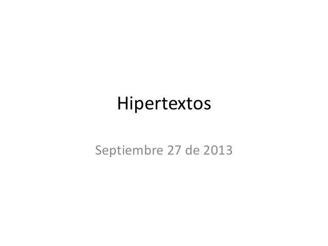 Hipertextos Septiembre 27 de 2013