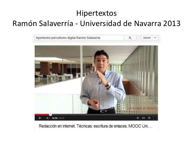 Hipertextos Ramón Salaverría - Universidad de Navarra 2013