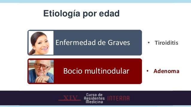 Enfermedad de Graves• Enfermedad autoinmune• ↑ Mujeres jóvenes: 20-40 años• Historia familiar: (50%)• Comorbilidad con otr...