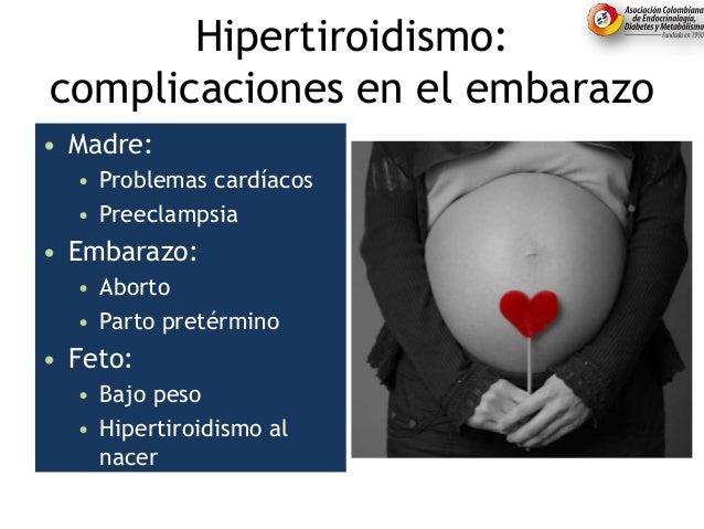 Hipertiroidismo: complicaciones en el embarazo • Madre: • Problemas cardíacos • Preeclampsia • Embarazo: • Aborto • Parto ...
