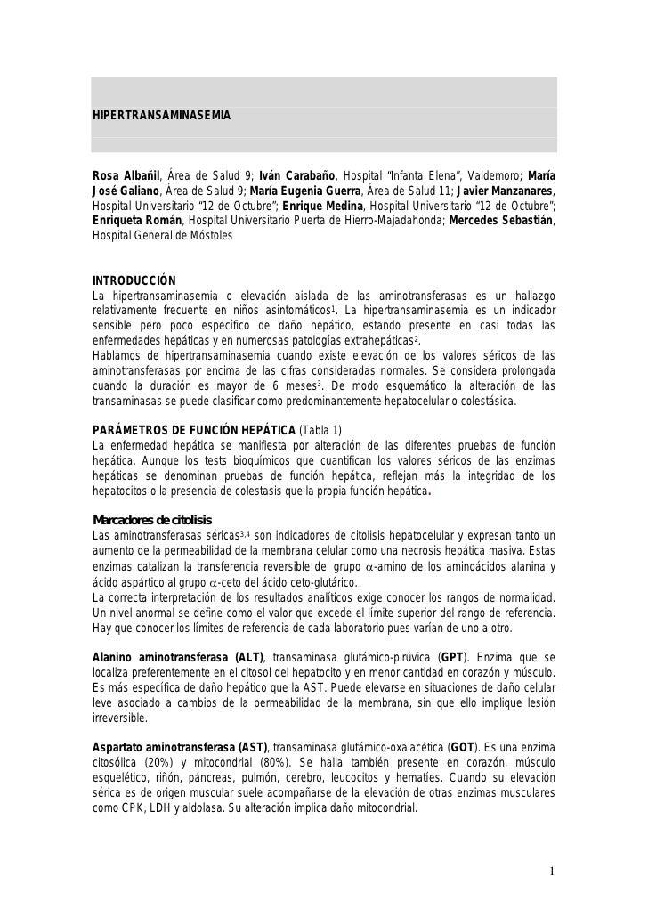 "HIPERTRANSAMINASEMIA    Rosa Albañil, Área de Salud 9; Iván Carabaño, Hospital ""Infanta Elena"", Valdemoro; María José Gali..."