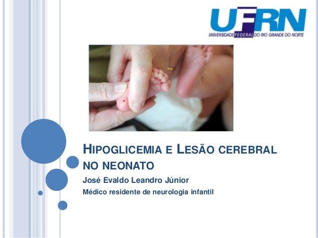 HIPOGLICEMIA E LESÃO CEREBRAL NO NEONATO José Evaldo Leandro Júnior Médico residente de neurologia infantil