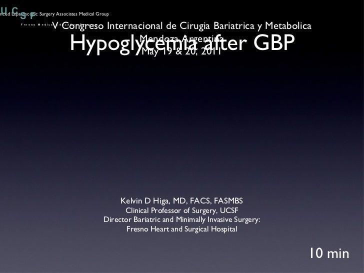 Hypoglycemia after GBP 10 min V Congreso Internacional de Cirugia Bariatrica y Metabolica Mendoza Argentina May 19 & 20, 2...