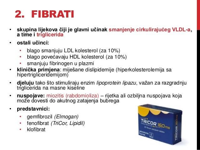 2. FIBRATI • skupina lijekova čiji je glavni učinak smanjenje cirkulirajućeg VLDL-a, a time i triglicerida • ostali učinci...