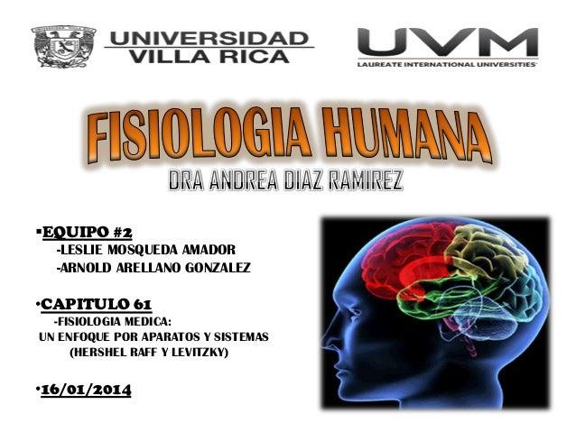 EQUIPO #2 -LESLIE MOSQUEDA AMADOR -ARNOLD ARELLANO GONZALEZ  •CAPITULO 61 -FISIOLOGIA MEDICA: UN ENFOQUE POR APARATOS Y S...