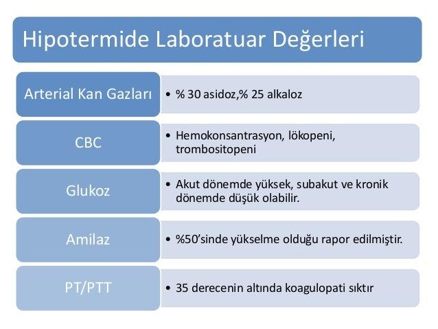 Hipotermide Laboratuar Değerleri • % 30 asidoz,% 25 alkalozArterial Kan Gazları • Hemokonsantrasyon, lökopeni, trombositop...