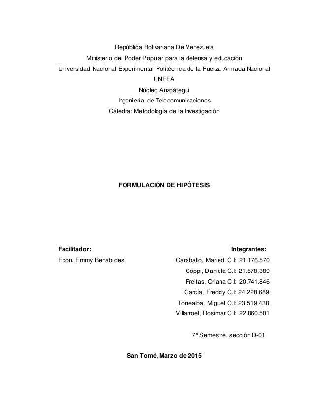República Bolivariana De Venezuela Ministerio del Poder Popular para la defensa y educación Universidad Nacional Experimen...
