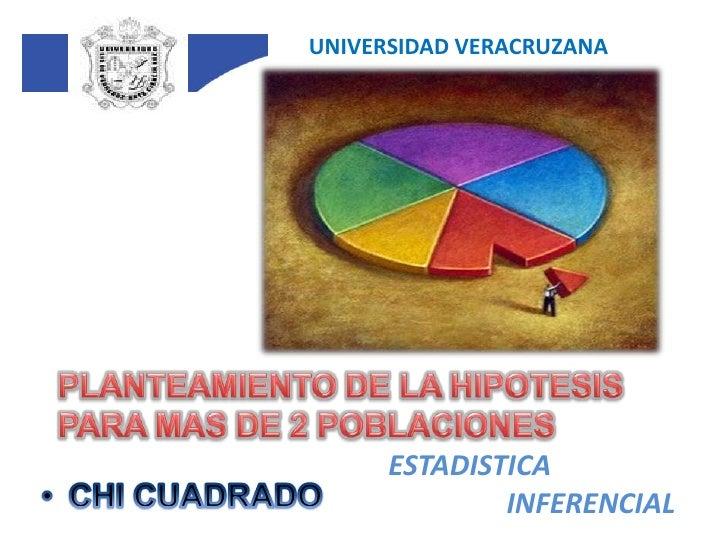 UNIVERSIDAD VERACRUZANA<br />PLANTEAMIENTO DE LA HIPOTESIS PARA MAS DE 2 POBLACIONES<br />ESTADISTICA<br />INFERENCIAL<br ...