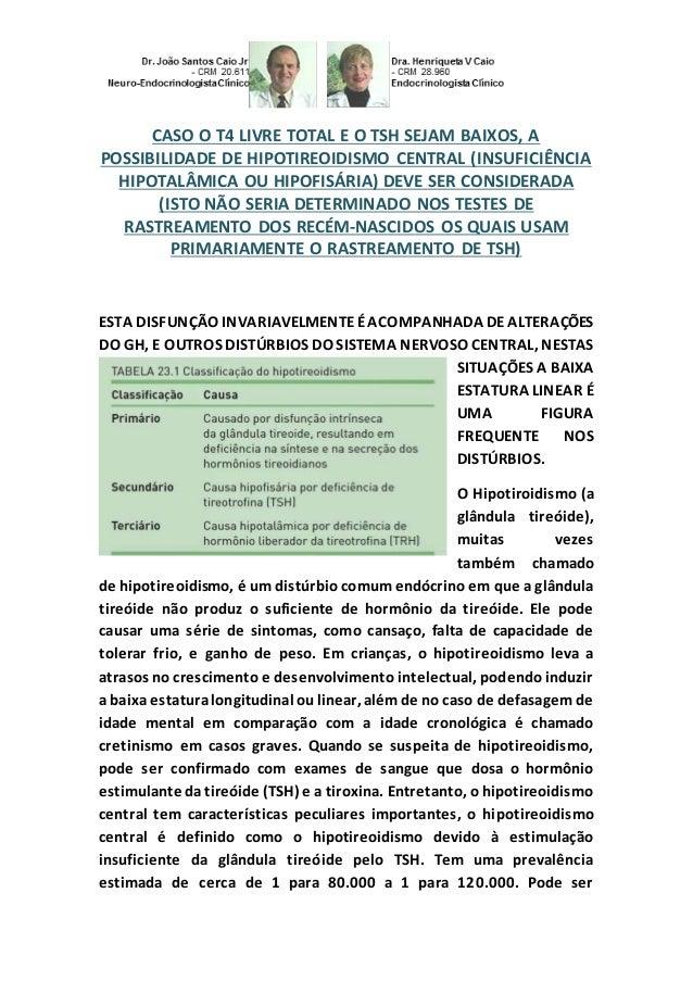 CASO O T4 LIVRE TOTAL E O TSH SEJAM BAIXOS, A POSSIBILIDADE DE HIPOTIREOIDISMO CENTRAL (INSUFICIÊNCIA HIPOTALÂMICA OU HIPO...