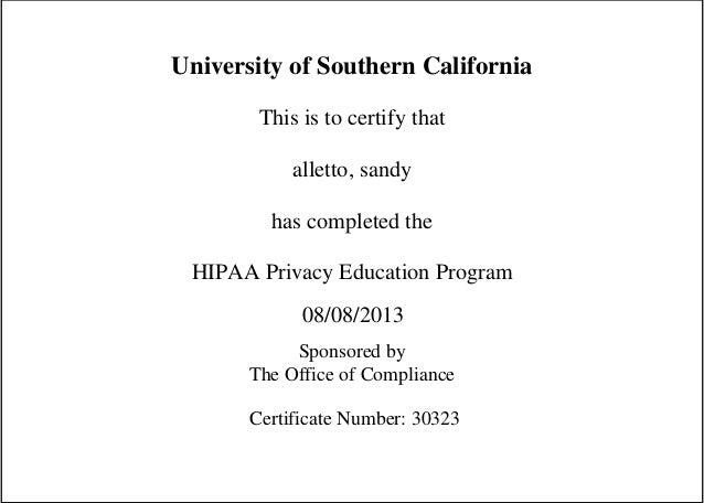 HIPAA training certificate USC
