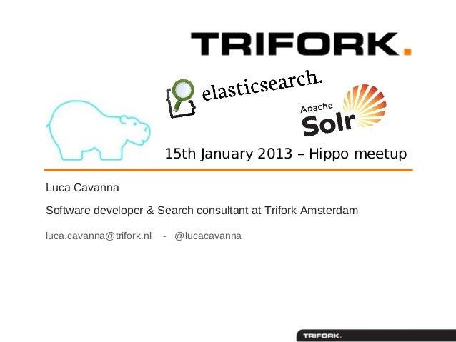15th January 2013 – Hippo meetupLuca CavannaSoftware developer & Search consultant at Trifork Amsterdamluca.cavanna@trifor...