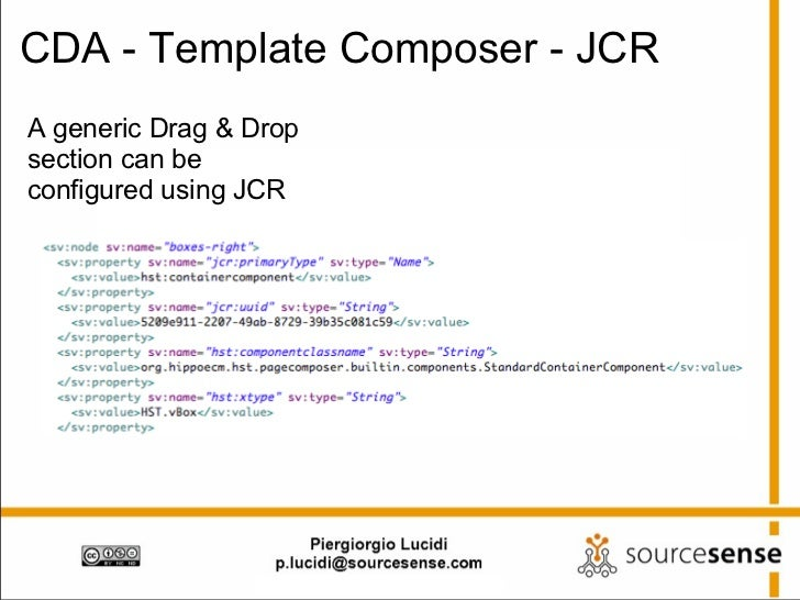 CDA - Template Composer - JCR A generic Drag & Drop section can be configured using JCR