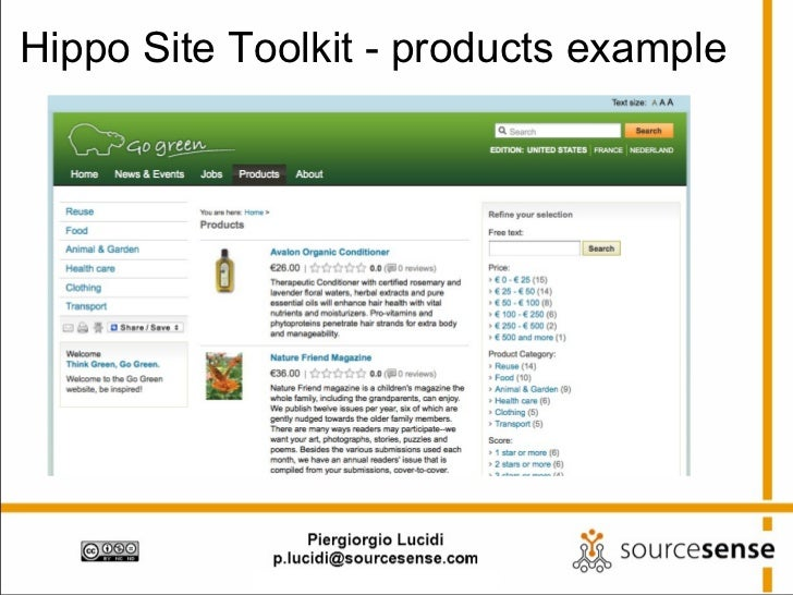 Hippo Site Toolkit - products example