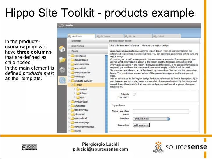Hippo Site Toolkit - products example <ul><li>In the products-overview page we have  three columns  that are defined as ch...