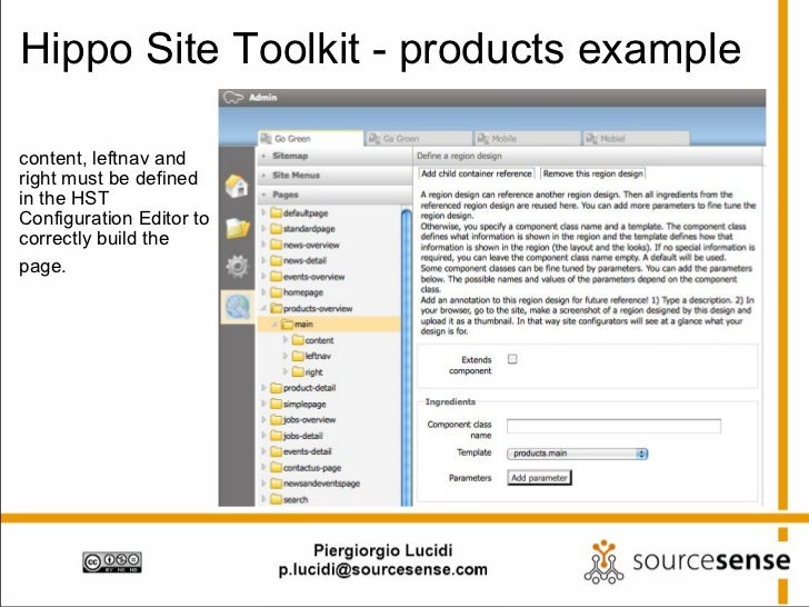 Hippo Site Toolkit - products example <ul><li>content, leftnav and right must be defined in the HST Configuration Editor t...