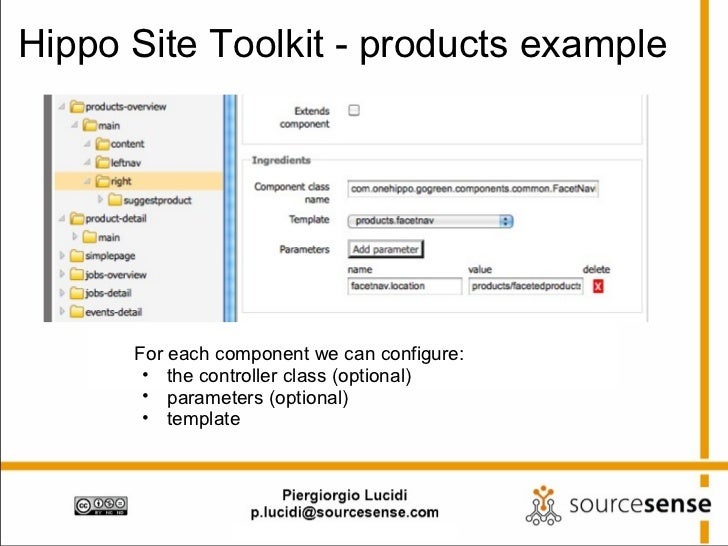 Hippo Site Toolkit - products example <ul><li>For each component we can configure: </li></ul><ul><ul><li>the controller cl...