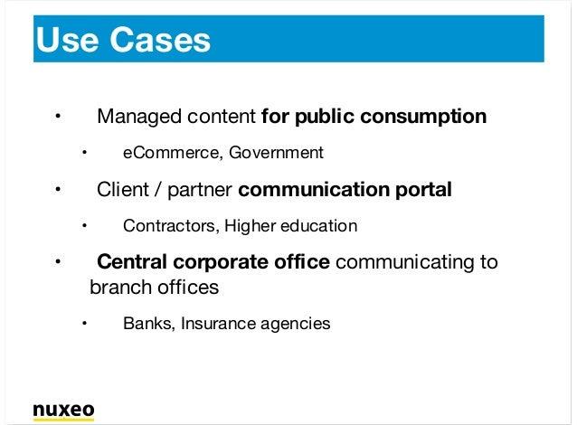 Use Cases Managed content for public consumption eCommerce, Government Client / partner communication portal Contractors, ...