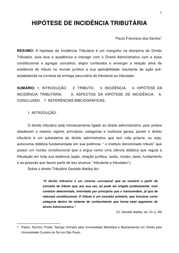 1          HIPÓTESE DE INCIDÊNCIA TRIBUTÁRIA                                                                    Paulo Fran...