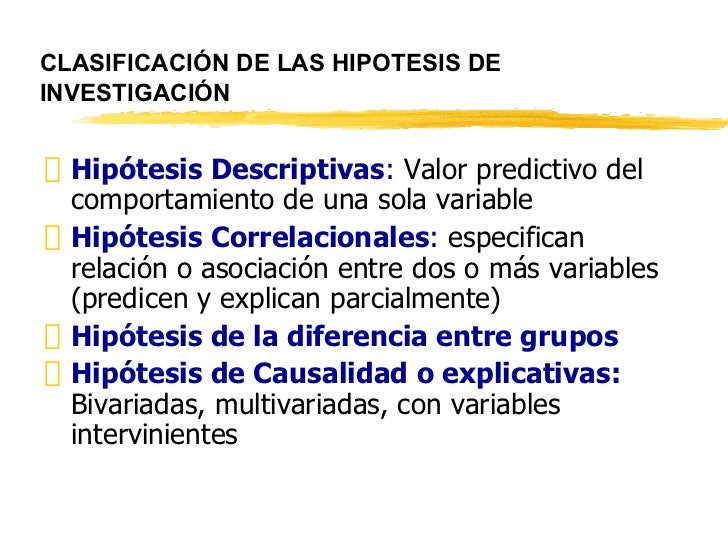 CLASIFICACIÓN DE LAS HIPOTESIS DE INVESTIGACIÓN <ul><li>Hipótesis Descriptivas :  Valor predictivo del comportamiento de u...
