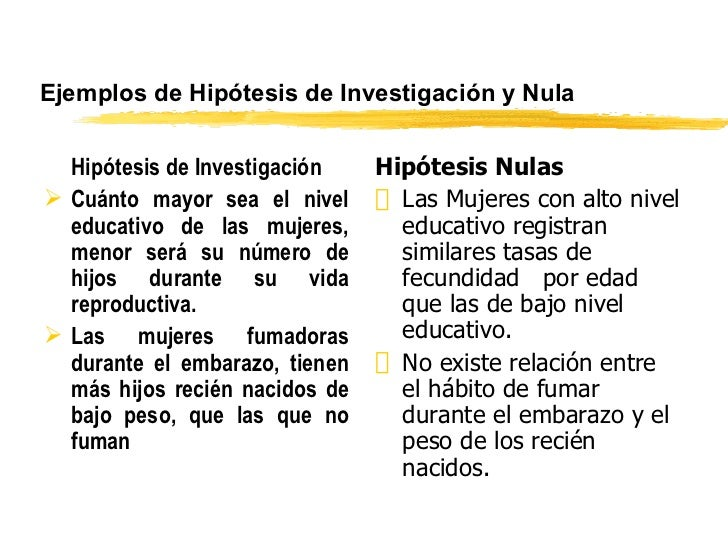 Ejemplos de Hipótesis de Investigaci ón y  Nula <ul><li>Hipótesis de Investigación </li></ul><ul><li>Cuánto mayor sea el n...