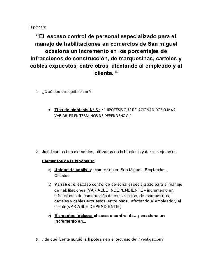 """Hipótesis:  """"El escaso control de personal especializado para el  manejo de habilitaciones en comercios de San miguel     ..."""