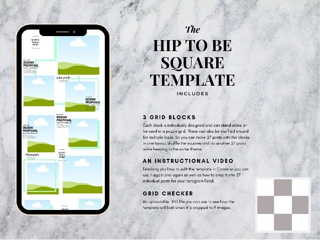 Hip to be square instagram puzzle template