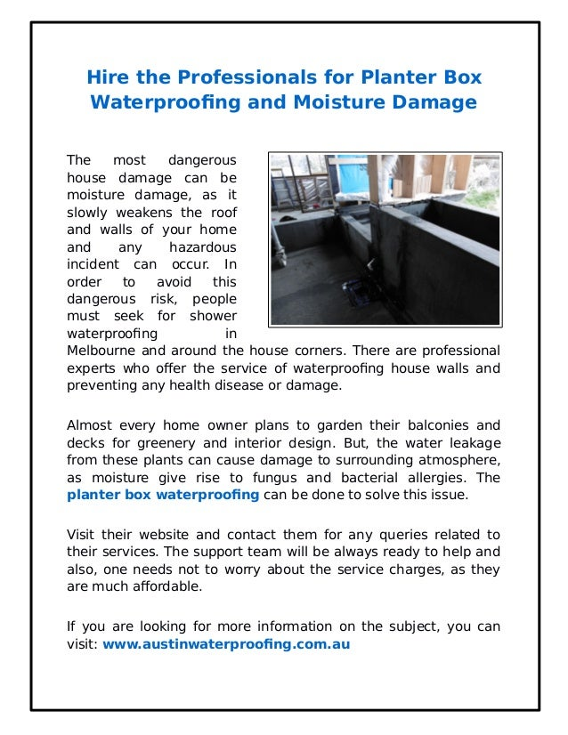 Hire the Professionals for Planter Box Waterproofing and Moisture Dam…