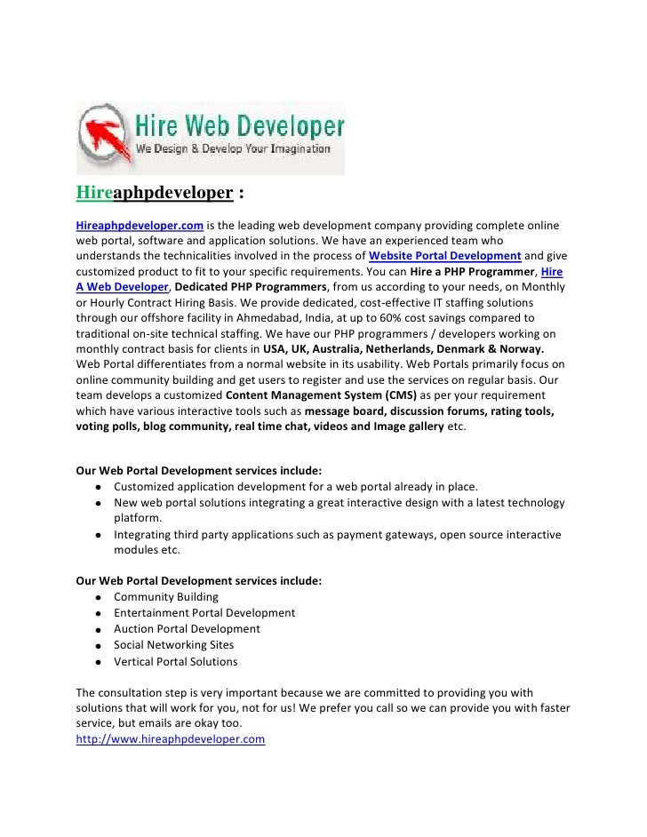Hireaphpdeveloper :Hireaphpdeveloper.com is the leading web development company providing complete onlineweb portal, softw...