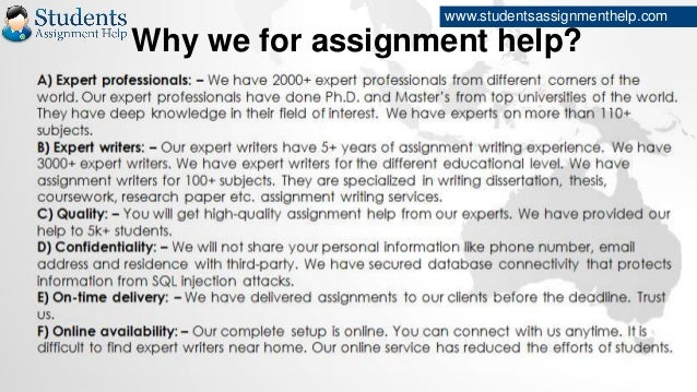 Assignment help experts