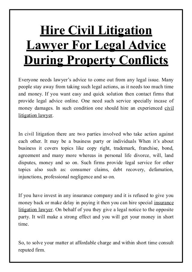 Hire Civil Litigation Lawyer For Legal Advice During