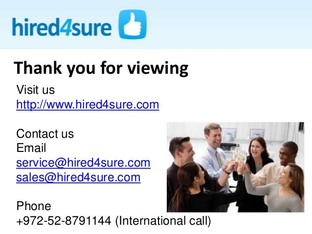 Thank you for viewing Visit us http://www.hired4sure.com Contact us Email service@hired4sure.com sales@hired4sure.com Phon...